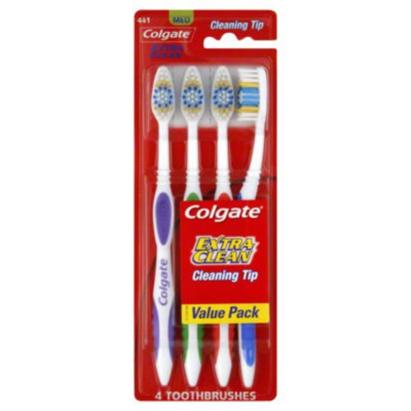 Colgate Extra Clean Cleaning Tip Toothbrush Med - 4 CT