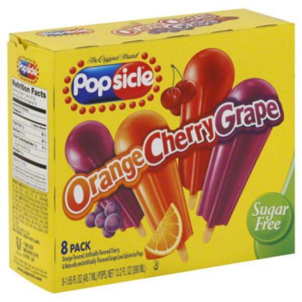Popsicle Orange Cherry Grape Sugar Free Ice Pops