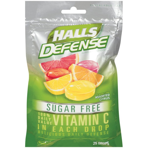 Halls Defense Vitamin C Assorted Citrus Sugar Free Supplement Drops