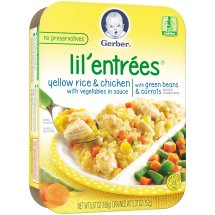 Gerber Lil' Entrees, Yellow Rice and Chicken with Vegetables in Sauce with Green Beans and Carrots, 6.67 oz Tray