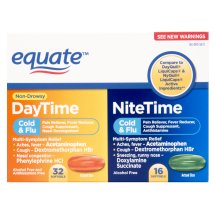 Equate Non-Drowsy DayTime/NiteTime Cold & Flu Softgels, 48 Ct