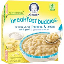 Gerber Breakfast Buddies Hot Cereal with Real Fruit and Yogurt, Bananas and Cream, 4.5 oz Tray