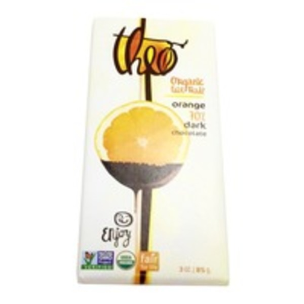 Theo Organic 70% Dark Chocolate With Orange Bar