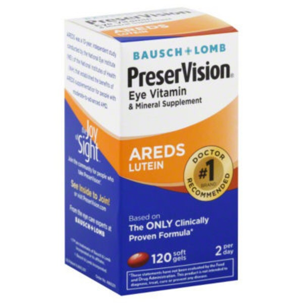 Bausch & Lomb PreserVision Eye Vitaming & Mineral Supplement AREDS Lutein Soft Gels - 120 CT