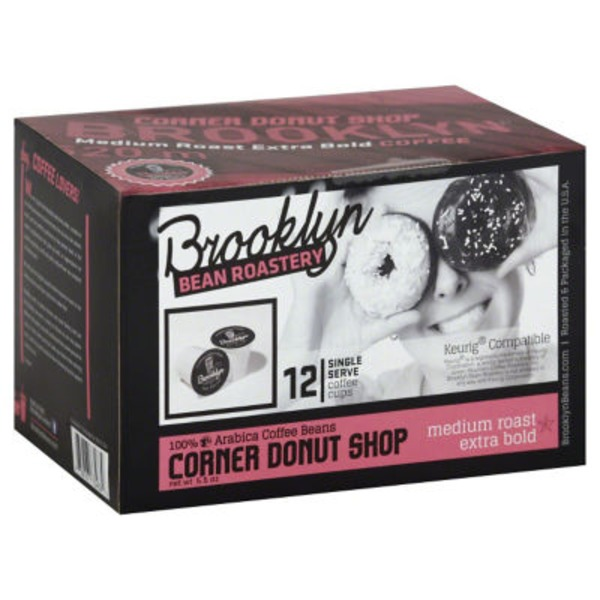 Brooklyn Bean Roastery Coffee Cups, Medium Roast Extra Bold, Corner Donut Shop, Single Serve