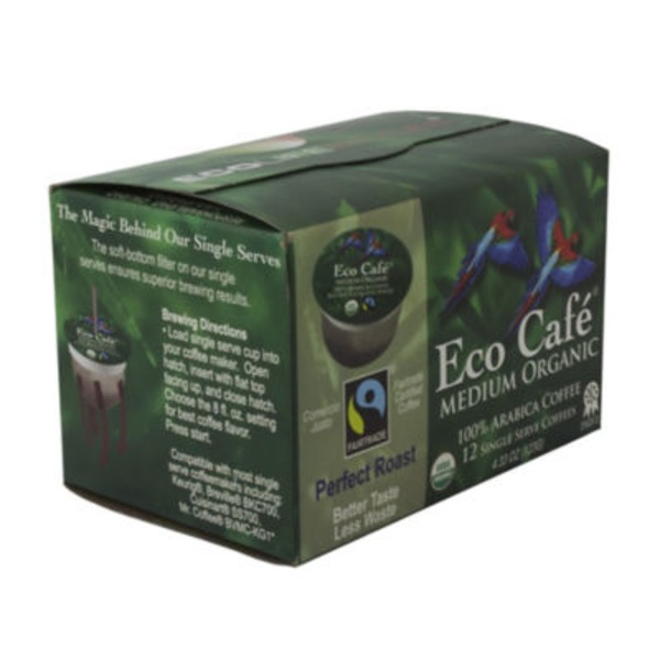 Eco Café Medium Organic Arabica Single Serve Coffee Cups