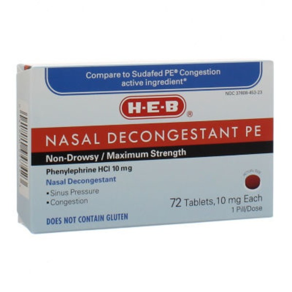 H-E-B Nasal Decongestant PE Non Drowsy/Maximum Strength Nasal & Sinus Congestion Tablets