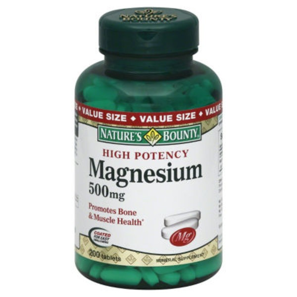 Nature's Bounty High Potency Magnesium 500mg Value Size - 200 CT