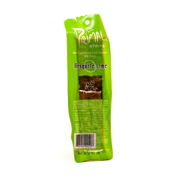 Primal Pet Foods Meatless Vegan Jerky, Seitan, Mesquite Lime, Vacuum Packed