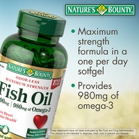 Nature's Bounty Odorless Maximum Strength Fish Oil With 980mg Omega 3 Soft Gels