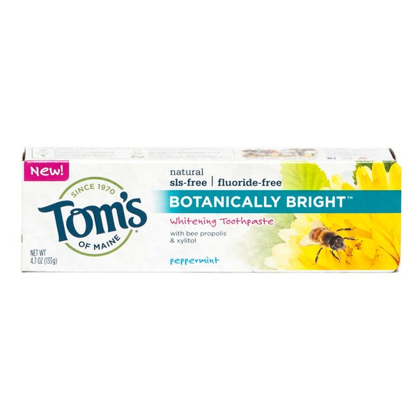 Tom's of Maine Sls-free fluoride-free Botanically Bright Whitening Toothpaste Peppermint