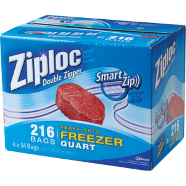 Ziploc Smart Zip Quart Freezer Bag