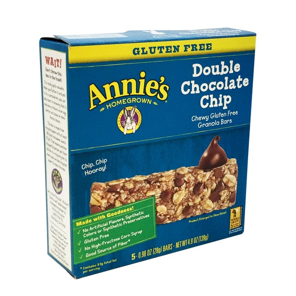 Annie's Homegrown Gluten Free Double Chocolate Chip Granola Bars Granola Bars