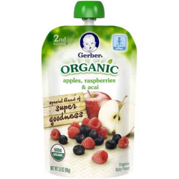 Gerber Organic 2 Nd Foods Organic Apples Raspberries & Acai Baby Food