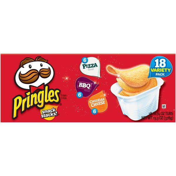 Pringles Snack Stacks! Pizza/BBQ/Cheddar Cheese Variety Pack Potato Crisps