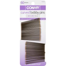 Conair Styling Essentials Curved Bobby Pins, Brown, 60 count