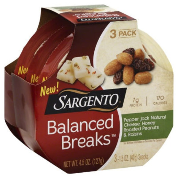 Sargento Balanced Breaks Pepper Jack Natural Cheese/Honey Roasted Peanuts/Raisins Snacks