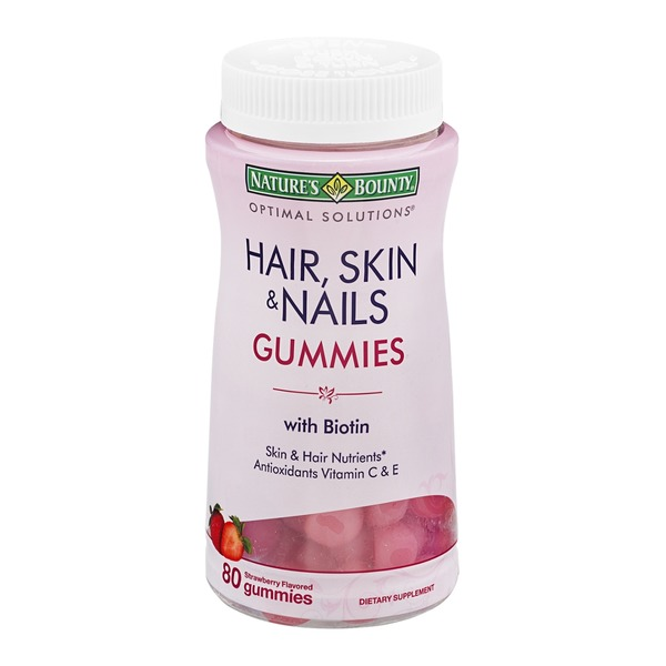 Nature's Bounty Optimal Solutions Hair, Skin & Nails Gummies with Biotin Dietary Supplement Gummies Strawberry Flavored - 80 CT