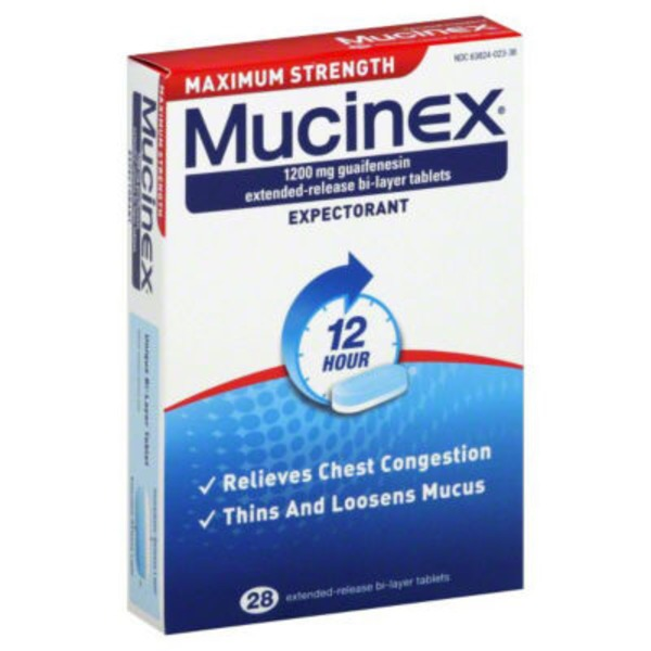Mucinex Maximum Strength 12 Hour Extended-Release Bi-Layer Tablets Expectorant