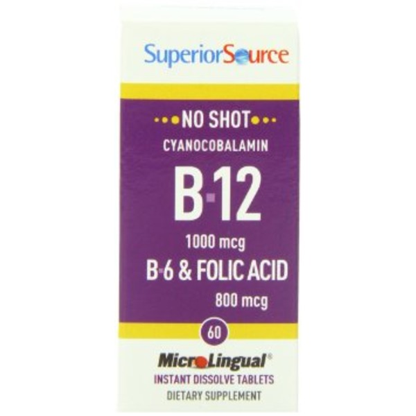 Superior Source No Shot B12 5000 mcg B6 Folic Acid 800 mcg 100 Tablets
