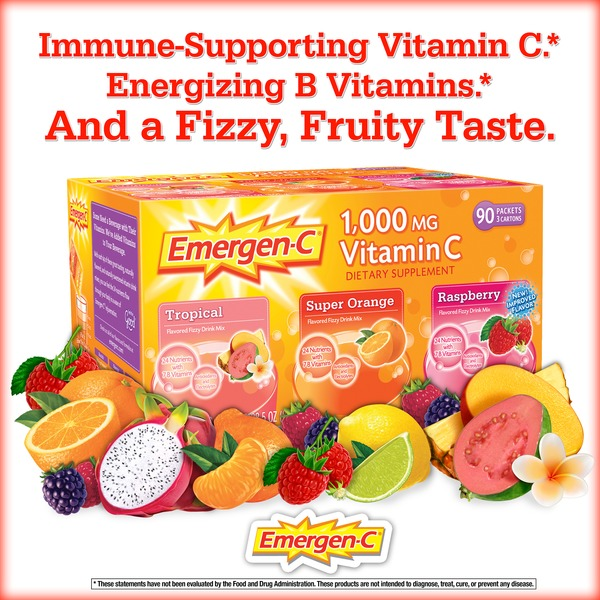 Emergen-C Orange Raspberry And Tropical Vitamin C