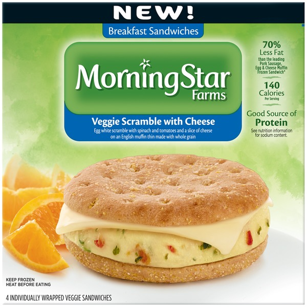 Morning Star Farms Veggie Scramble with Cheese Veggie Breakfast Sandwiches