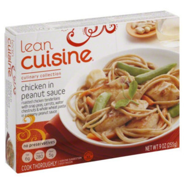 Lean Cuisine Marketplace White meat chicken with carrots, broccoli, & edamame with linguine and a sweet & spicy peanut sauce Chicken with Peanut Sauce