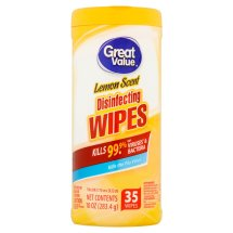 Great Value Disinfecting Wipes, Lemon Scent, 35 Count, 1 Pack