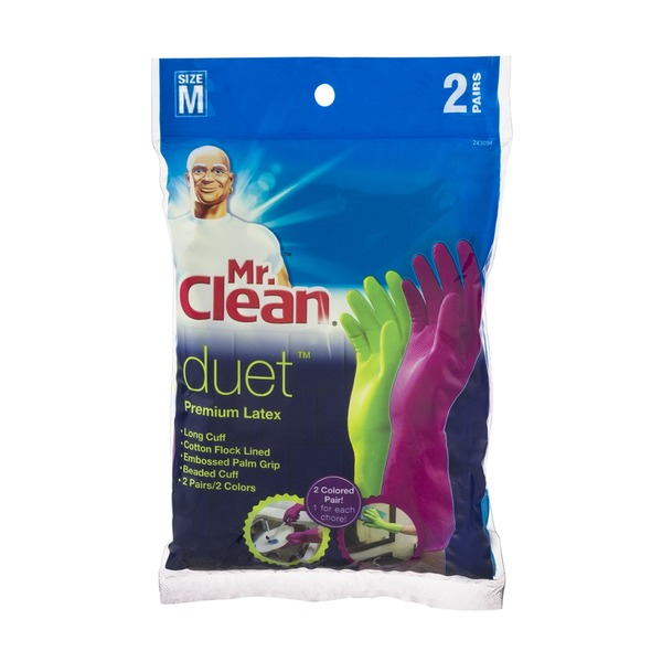 Mr. Clean Duet Premium Latex Gloves Size M - 2 PR