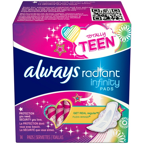 Always Radiant Always Radiant Teen Regualr with wings unscented Pads 14 count Feminine Care