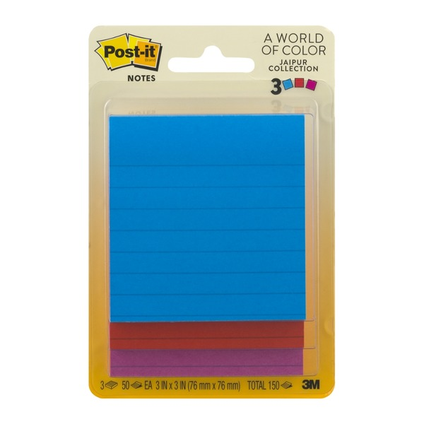 Post-it Notes Jaipur Collection 3in x 3in - 3 PK