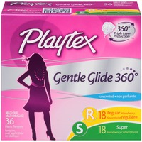 Playtex Gentle Glide 360° Unscented Regular/Super Absorbency Tampons