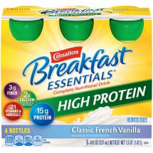Carnation Breakfast Essentials High Protein Complete Nutritional Drink, Classic French Vanilla, 8 Fl Oz, 6 Ct