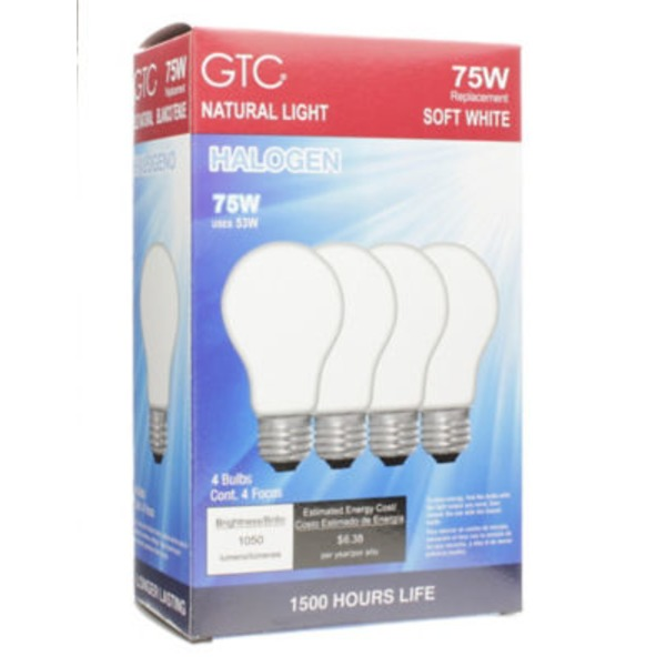 GTC 75 Watt Halogen Soft White Light Bulbs