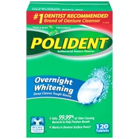 Polident Overnight Whitening  Antibacterial Effervescent Tablets Denture Cleanser