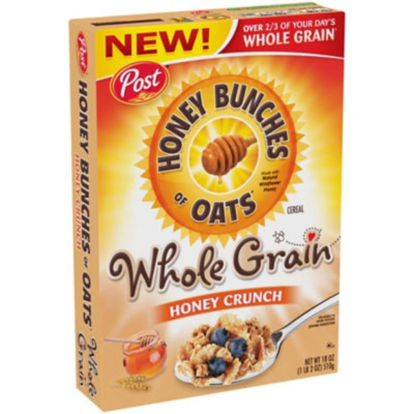 Honey Bunches Of Oats Whole Grain Honey Crunch Cereal