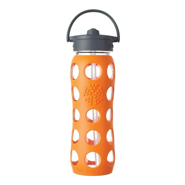 Lifefactory Orange Color Straw Cap 22 Oz Glass Bottle With Sleeve