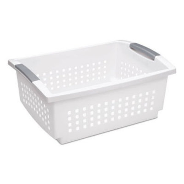 Sterilite Large Stacking Basket White With Grey Handles