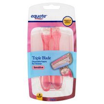 Equate Women's 3-Blade Disposable Razors, Sensitive, 3 Ct