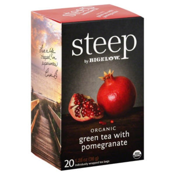 Bigelow Steep Organic with Pomegranate Green Tea