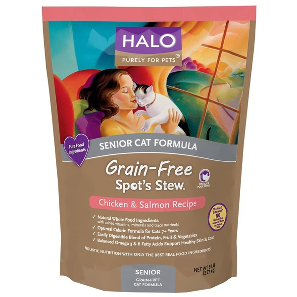 Halo Spot's Stew Grain Free Chicken & Salmon Senior Cat Food 6 Lbs.