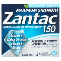 Zantac 150mg Maximum Strength Sugar Free Cool Mint Ranitidine / Acid Reducer Tablets, 24ct
