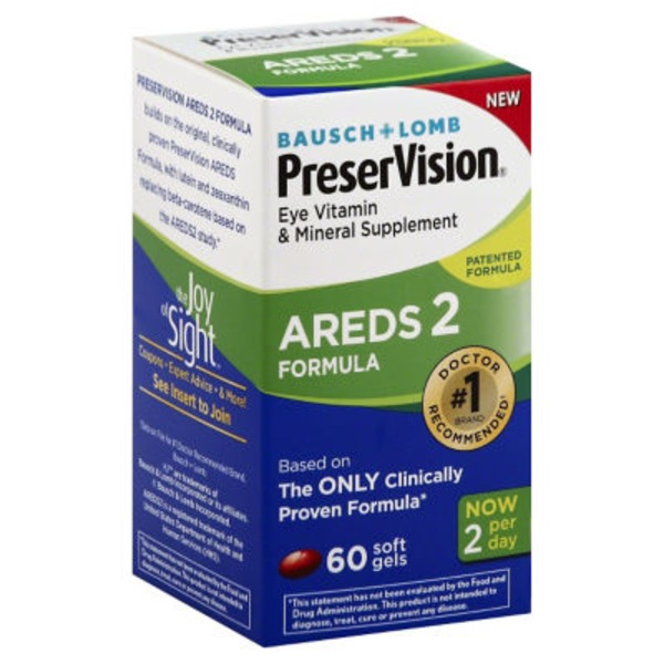 Bausch & Lomb PreserVision Eye Vitamin & Mineral Supplement AREDS 2 Formula Soft Gels