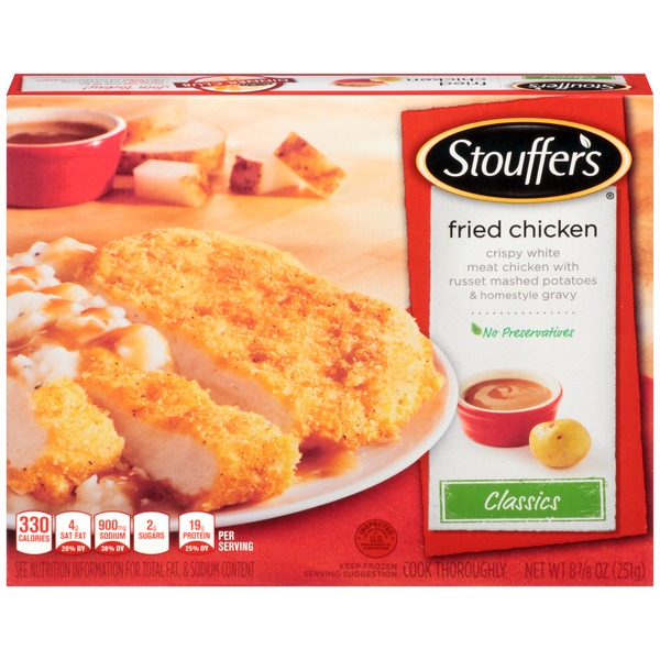 Stouffer's Classics Tender boneless white meat chicken in a seasoned crispy coating with mashed potatoes and gravy Fried Chicken