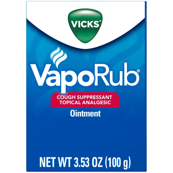Vicks Vaporizing Decongestant Vicks VapoRub Cough Suppressant Topical Analgesic Ointment 3.53 oz Respiratory Care