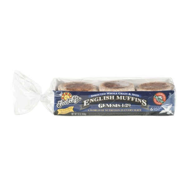 Food for Life Genesis 1:29 Sprouted Whole Grain & Seed English Muffins - 6 CT