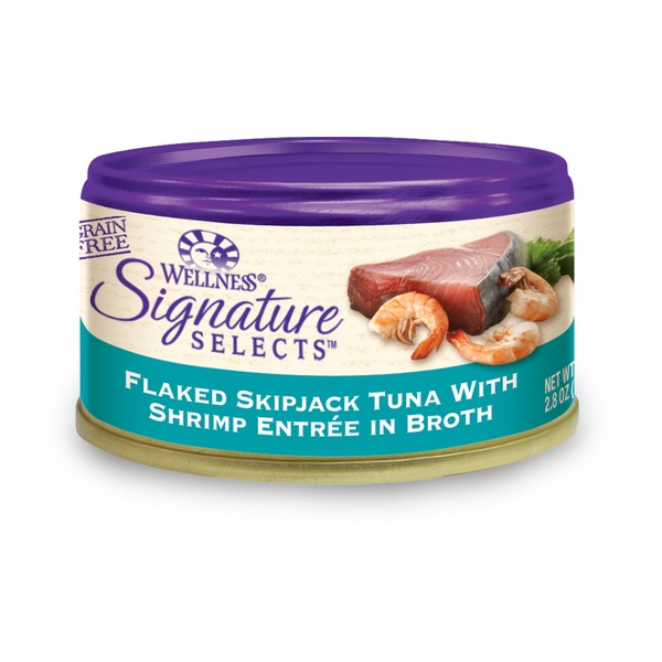 Wellness Signature  Selects Flaked Skipjack Tuna with Shrimp Entree in Broth