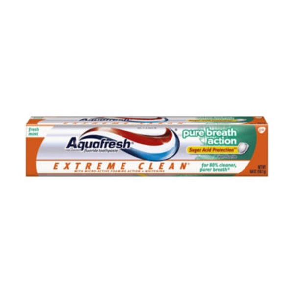 Aquafresh Extreme Clean Pure Breath Action Fluoride Toothpaste