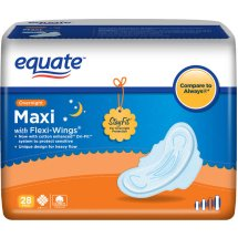 Equate Overnight Maxi Pads with Flexi-Wings, 28 Ct