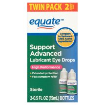 Equate Support Advanced Lubricant Eye Drops, 0.5 Oz, 2 Pk